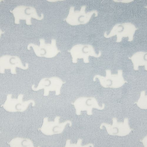 Fleece světle modrý, bílý sloníci, š.150