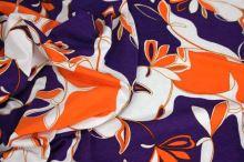 Úplet fialový, oranžovobílý vzor š.145