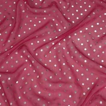 Hodvábny šifón ružový, strieborný bodka š.135
