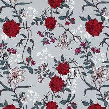 Teplákovina šedá, vínové kvety, š.175