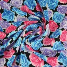 Šatovka květy modré, růžové, fialové š.150
