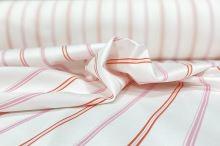 Bavlněný satén bílý, růžový pruh, š.130