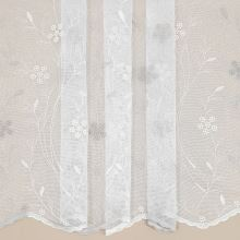 Záclona bílá s béžovo-šampáň květinovou výšivkou v.175cm