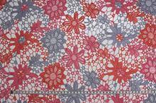 Čipka trojfarebná, oranžovo-ružovo-šedá š.135