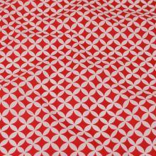 Bavlna biela, červený vzor, š.160