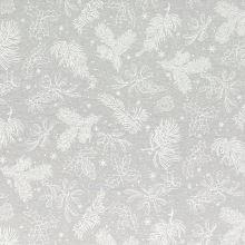 Dekoračná látka šedá, biele vetvičky, š.140