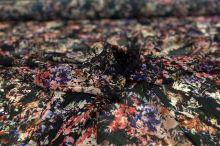 Šifon 16948 černý, květinový vzor, š.150