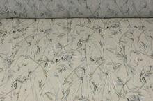 Šifón šedo-béžový, vtáky a listy, š.140