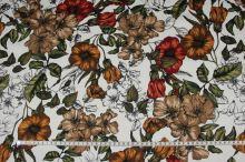 Bavlna červené a žlté kvety, š.145