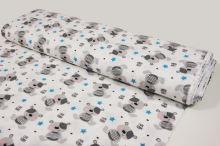 Flanel bílý, šedí medvídci a tyrkysové hvězdičky, š.160