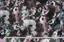 Úplet khaki 15934, ružovo-modrý kvet, š.150
