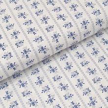 Bavlnené plátno biele, modrý kvetinový motív, š.140