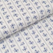 Bavlněné plátno bílé, modrý květinový motiv, š.140