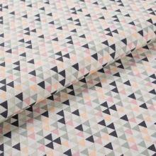 Bavlněné plátno krémové BW1540, barevné trojúheníky, š.145