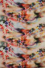Satén červeno-oranžový, vzor 3 ruže, š.145