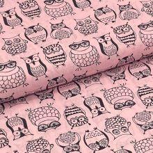 Bavlnené plátno P0677 ružové, sovičky, š.140