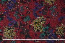 Kostýmovka červená 15191, farebný vzor, š.150