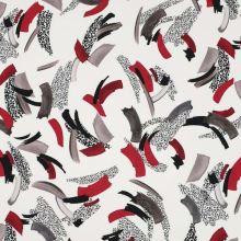 Šatovka biela, červeno-šedý vzor, š.140