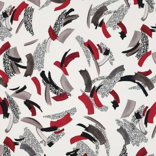 Šatovka bílá, červeno-šedý vzor, š.140