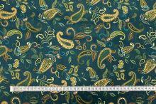 Šifon 21507 modro-zelený, kašmírový vzor, š.140