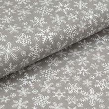 Bavlnené plátno šedé, biele vločky, š.160