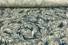 Ľanová kostýmovka modrá, zeleno-biele palmové listy, š.135