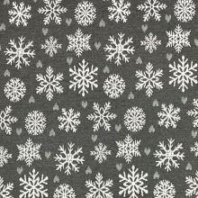 Vianočná dekoračná látka šedá, biele vločky, š.280