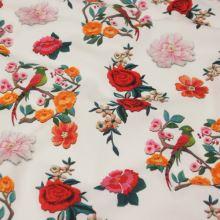 Bavlna biela, farebný kvetinový vzor, š.140