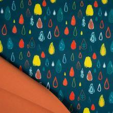 Softshell petrolejový, barevné kapky, š.145