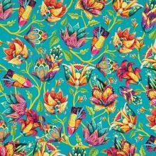 Teplákovina nepočesaná smaragdová, farebné kvety, š.175