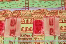 Úplet barevný, vzor domy, š.155
