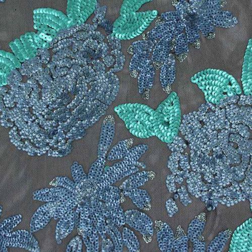 Tyl černý, tyrkysovo-modrý flitrový květ š.145/130