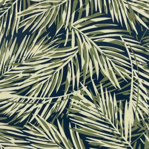 Lněná kostýmovka modrá, zeleno-bílé palmové listy, š.135