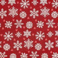 Vianočná dekoračná látka červená, biele vločky, š.280