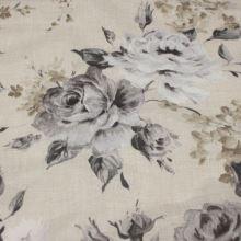 Dekorační látka béžová, šedé květy, š.140