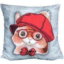 Povlak na vankúš svetlo šedý, veverička v čiapke, 45x45 cm