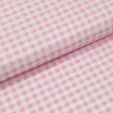 Bavlnené plátno ružovo-biela kocka, š.140