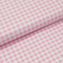 Bavlněné plátno růžovo-bílá kostka, š.140