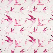 Úplet 21772 biely, ružové vtáky, š.145
