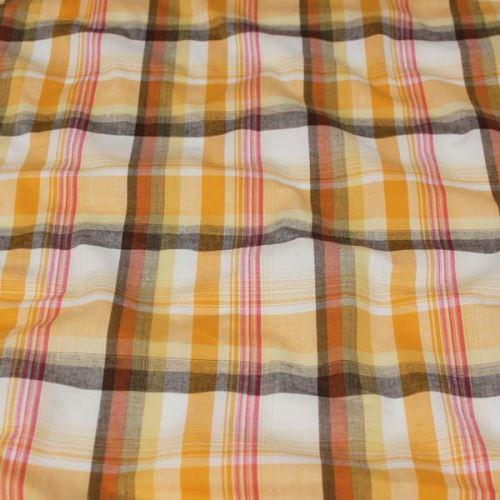 Košeľovina vzorovaná, žlto-oranžové káro, š.150