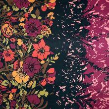Satén čierny, kvetinová bordúra, š.145