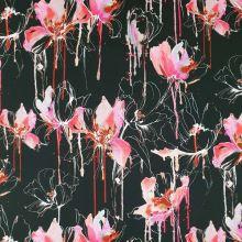 Bavlna černá, růžový květ, š.145