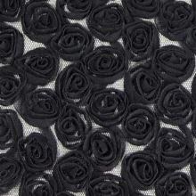 Tyl elastický černé květy š.130