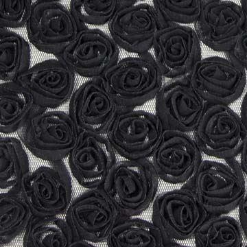 Tyl čierne kvety š.130