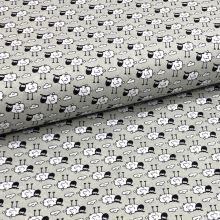 Bavlněné plátno P0673 šedé, ovečky, š.140
