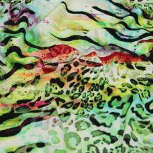 Úplet 15772, zeleno-žlutý zvířecí vzor, š.150