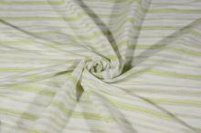 Košilovina bílá, žlutozelený pruh š.150