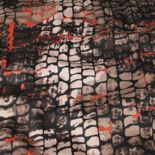 Bavlna hnědobéžová, hadí vzor, š.145