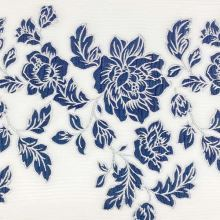 Kostýmovka biela, modrý kvetinový žakár, š.135