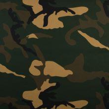 Popelín zelenohnědý army vzor, š.145